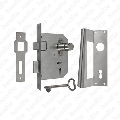 F.730 with piston - Mortise lock with piston and key + Lever handles - STAINLESS STEEL