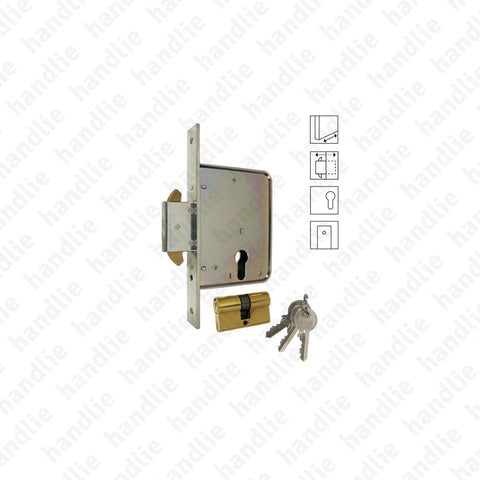 F.794.7.03 - Mortise lock with strong sliding deadbolt with hooks for euro cylinder