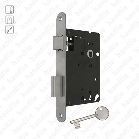 F.804.2.01.R - Mortise lock with key - Round faceplate - Stainless Steel