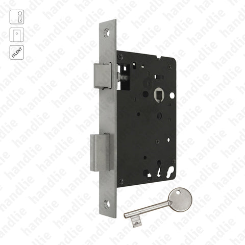 F.804.2.01 - Mortise lock with key - Square faceplate- Stainless Steel