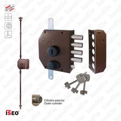 F.913105 - High security rim lock for vertical rods