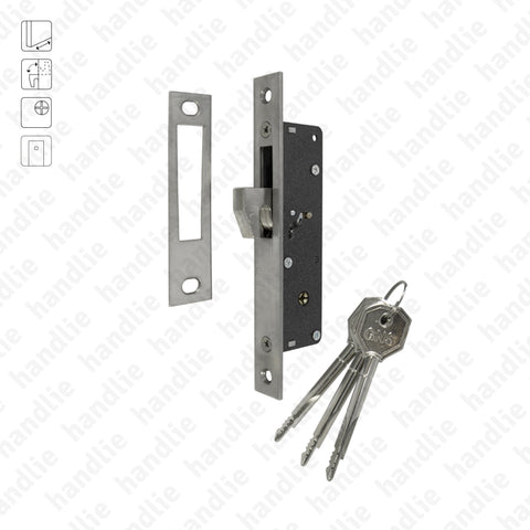 F.981.8.05 - Mortise lock with retractable hook with cross key cylinder