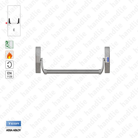 Panic bar 1970 - Panic bar for mortise lock - Grey
