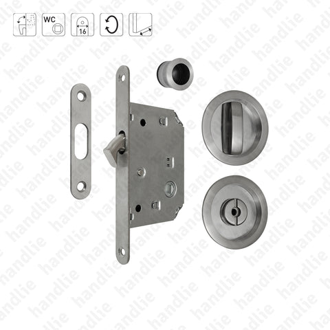F.KIT.65 - Lock Kit with flush handles with Knob + Emergency Release