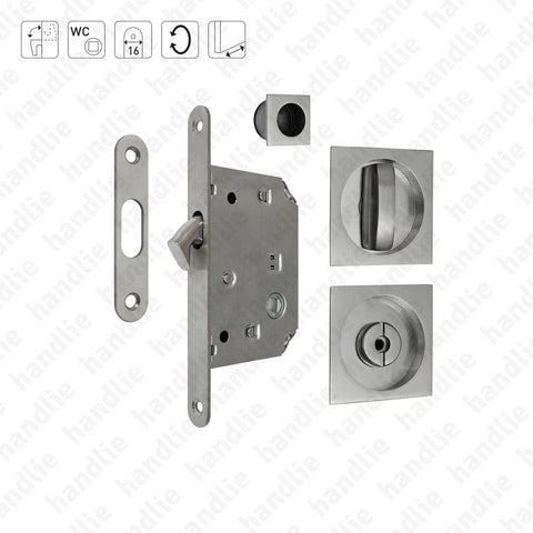 F.KIT.67 - Lock Kit with flush handles with Knob + Emergency Release