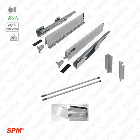 CL.181.1.00 - H.140 - SPM QUICK SLIDE - Round Railing - Sides with Soft-Close slides for 140mm pull-outs / Full extension slide / 35kg