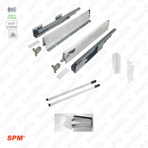 CL.181.1.00 - H.140 - SPM QUICK SLIDE - WHITE - Rectangular Railing - Sides with Soft-Close slides for 140mm pull-outs / Full extension slide / 35kg