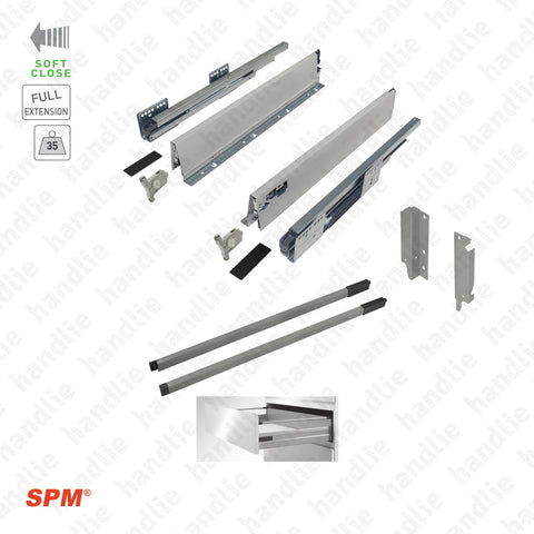 CL.181.1.00 - H.140 - SPM QUICK SLIDE - Rectangular Railing - Sides with Soft-Close slides for 140mm pull-outs / Full extension slide / 35kg