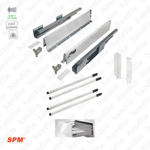 CL.181.1.00 - H.204 - SPM QUICK SLIDE - WHITE - Sides with Soft-Close slides for 204mm pull-outs / Full extension slide / 35kg