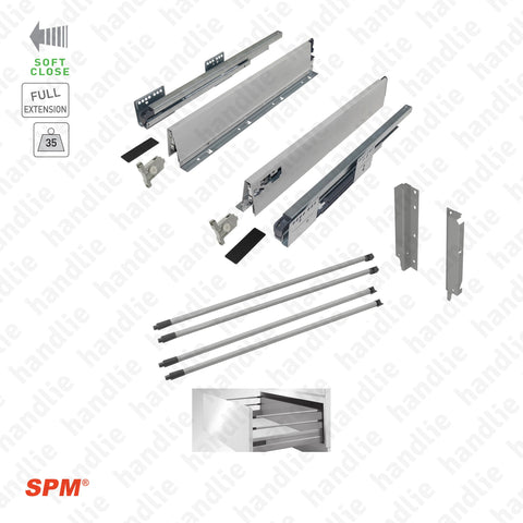 CL.181.1.00 - H.204 - SPM QUICK SLIDE - Sides with Soft-Close slides for 204mm pull-outs / Full extension slide / 35kg