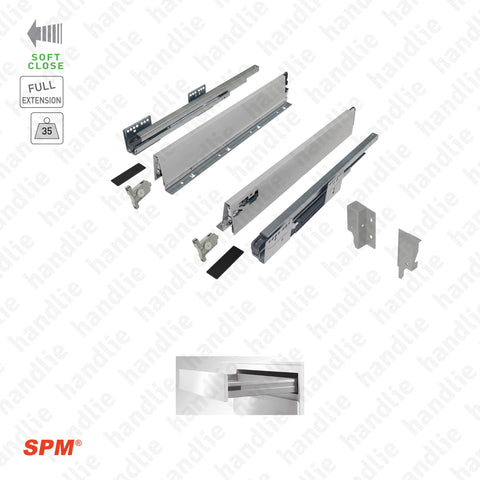 CL.181.1.00 - H.86 - SPM QUICK SLIDE - Sides with Soft-Close slides for drawers and pull-outs / Full extension slide / 35kg