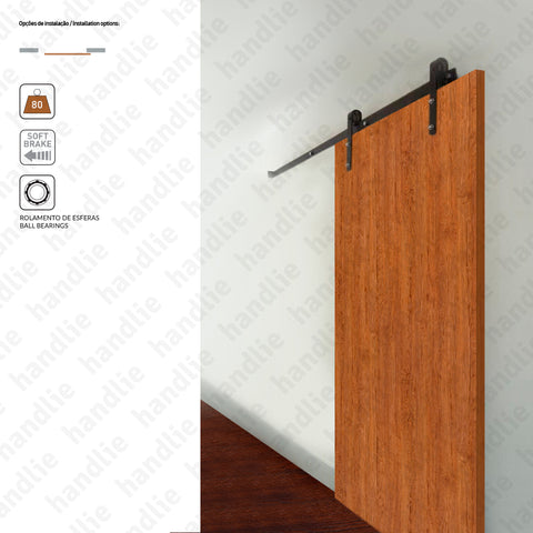 KIT.1005.2000 - Roda Ø70mm - With Softbrake - Dividers and passage sliding wooden door system - up to 80Kg per leaf - Doors 1m