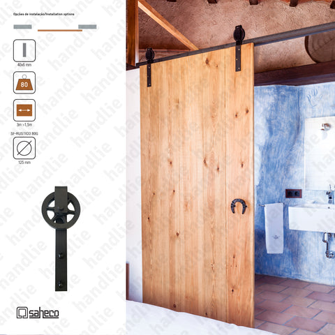 KIT.989.06 - Rustico Timber / SF - RUSTICO 80G - up to 80kg per door - Doors up to 1,5m - 1 Leaf | SAHECO