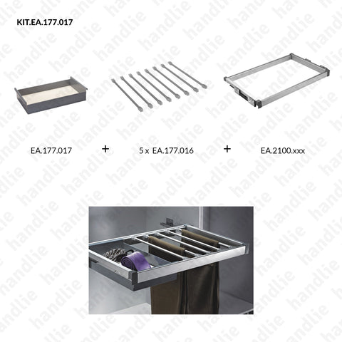 KIT EA.177.017 - Rod kit for trousers + Basket - SC SQUARE CLOSET