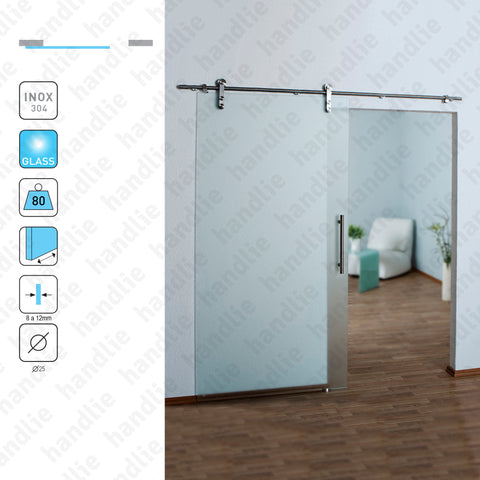 SC.KIT.IN.110/2000 - Stainless steel system for dividers and passage sliding glass doors - up to 80Kg per leaf - Doors 1m