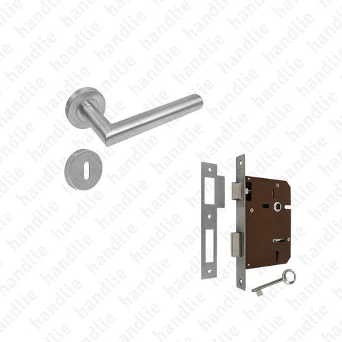 KIT.P.904 - Lever handle + Mortise lock with key - STAINLESS STEEL