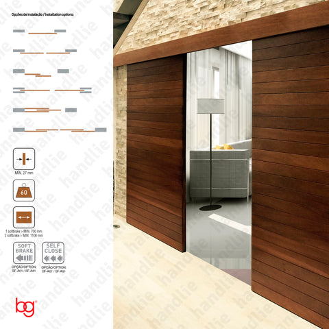 Classic Timber SF-A61 - Dividers and passage sliding wooden door system - up to 60Kg per leaf - Doors 1m
