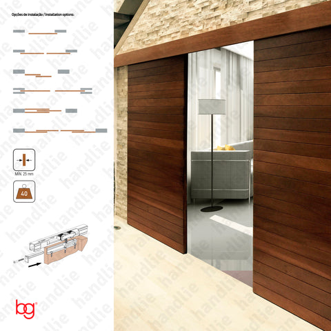 Classic Timber SF-RA60 - Dividers and passage sliding wooden door system - up to 60Kg per leaf - Doors 1m