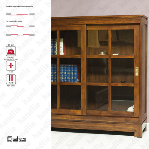 Substenta Timber KIT SF-22 - Sliding door systems for wooden furniture and wardrobes / Supported  - Up to 22Kg per leaf | SAHECO