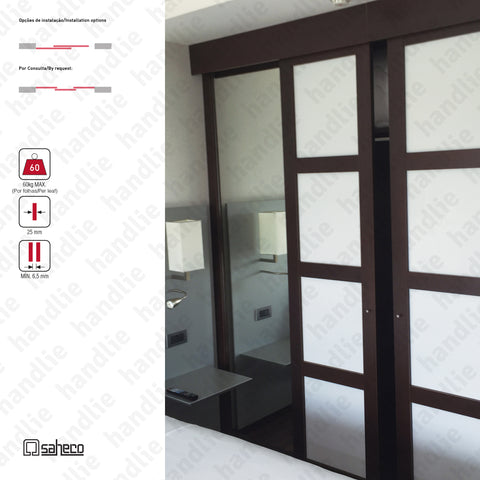 Nitro Timber SF-SA60 - Sliding door system for wooden furniture and wardrobes / Hanging - Up to 60Kg per leaf | SAHECO