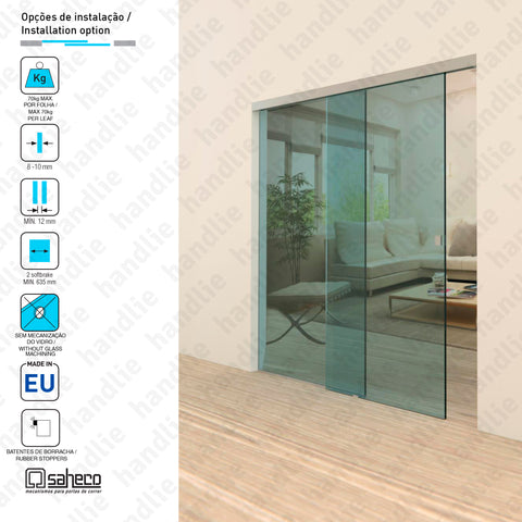 SV-970.57 - KIT SV-X70 - 2 stoppers - SLIDING DOORS + FIXED LEAF - 70kg / 2m | SAHECO