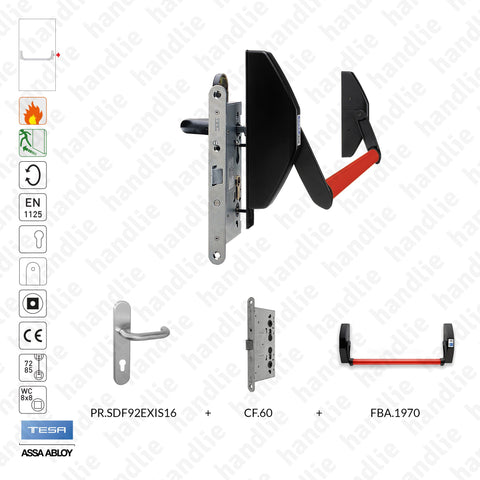 Panic bar 1970 + CF.60 + SDF.92EX.IS16 kit - Mortise panic exit device with 1 locking point + Lock + Handle