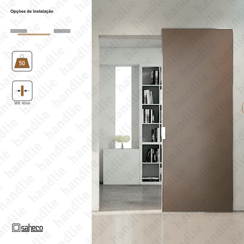 Phantom Timber | Ghost Series - System for dividers and passage sliding wooden doors - up to 50Kg per leaf - Full Opening - 800mm