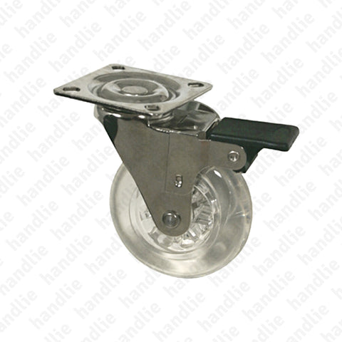 R.139 - Swivel castor with brake - Ø50 / Ø75 - Transparent