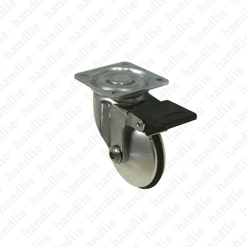 R.151 - Swivel castor with brake - Ø51 - Aluminium