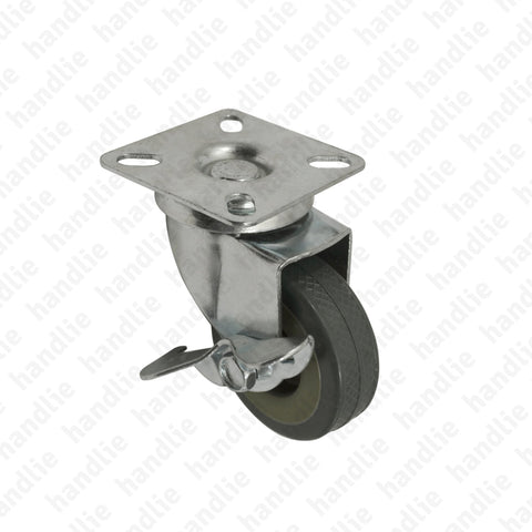 R.156 - Swivel castor with brake - Ø50 / Ø75 - Grey