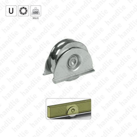 R.387 - U-Groove wheel with lateral support / 1 bearing