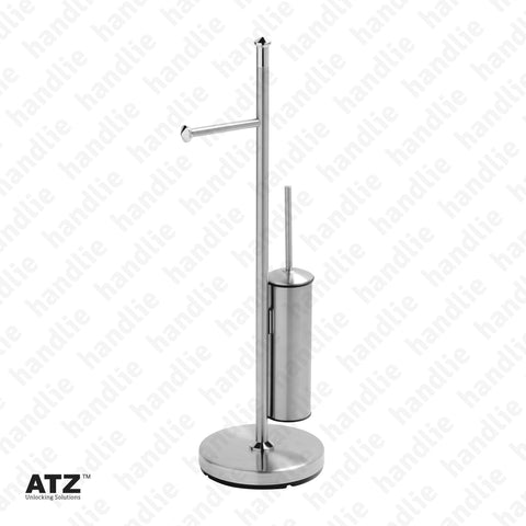 WC.6602 6600 Series - Standing Towel Rail with Toilet Brush Holder - Stainless Steel