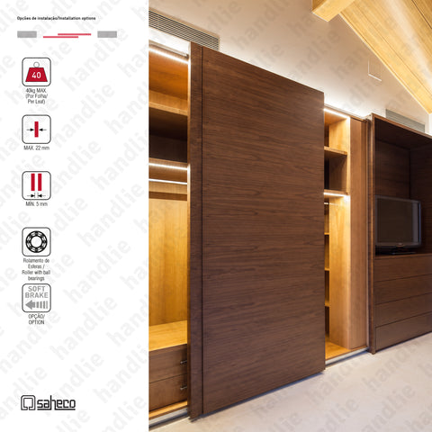Front Timber SF-F40 - 2 LEAVES - Sliding door system for wooden furniture and wardrobes / Hanging - Up to 40Kg per leaf | SAHECO