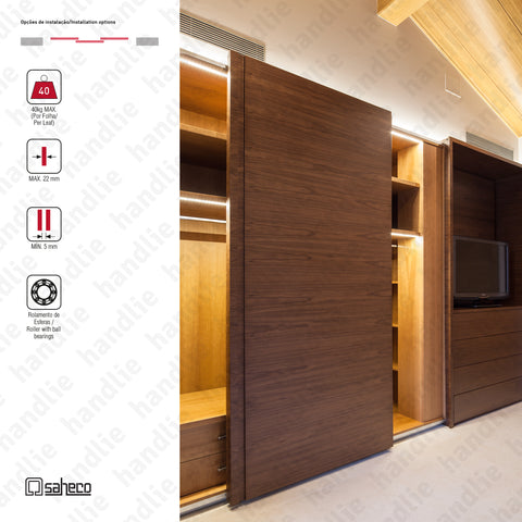 Front Timber SF-F40 - 3 LEAVES - Sliding door system for wooden furniture and wardrobes / Hanging - Up to 40Kg per leaf | SAHECO
