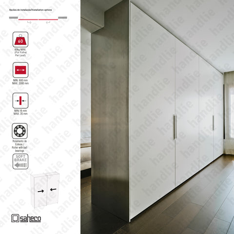 Filo Timber SF-FILO - 2 LEAVES - Sliding door system for wooden furniture and wardrobes / Flush fitted - Up to 60Kg per leaf | SAHECO