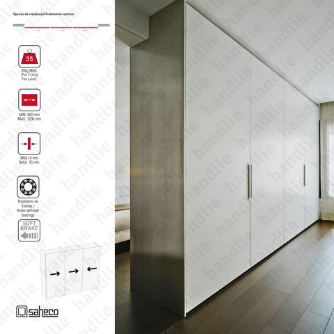 Filo Timber SF-FILO - 3 LEAVES | CENTRAL RIGHT OPENING - Sliding door system for wooden furniture and wardrobes / Flush fitted - Up to 35Kg per leaf | SAHECO