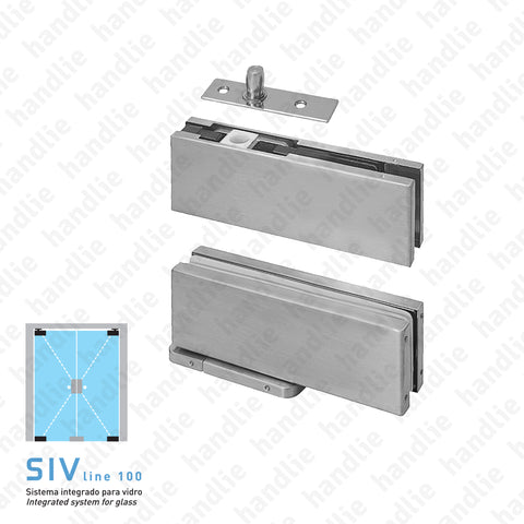 SIV.152 - Hydraulic pivot kit -  Especially for exterior glass doors - STAINLESS STEEL
