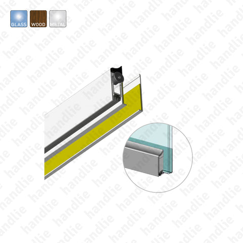 VP.2506 - Surface mounted door seal for glass, wooden and metal doors