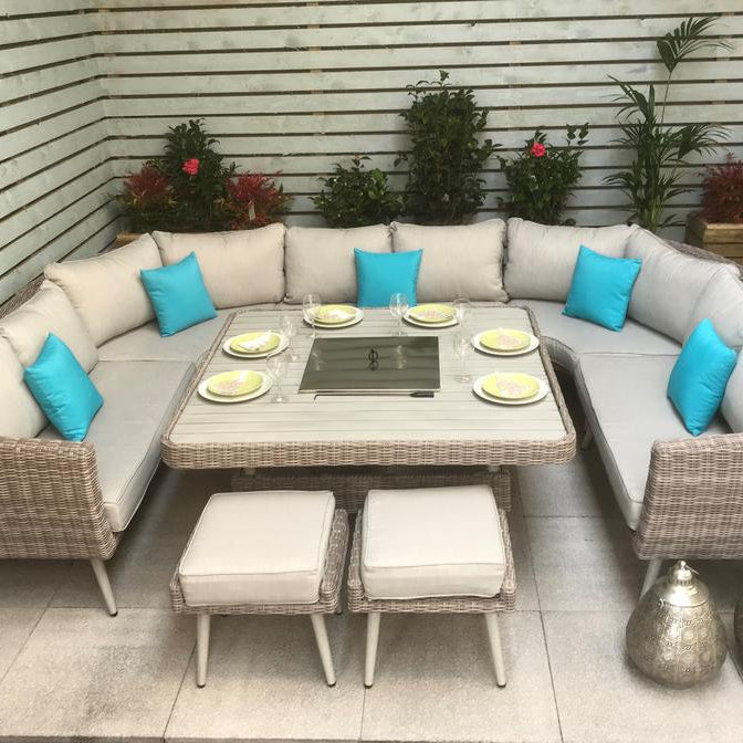 Dining Al-Fresco has never looked so good with our Danielle U-Shape Sofa and Dining Set