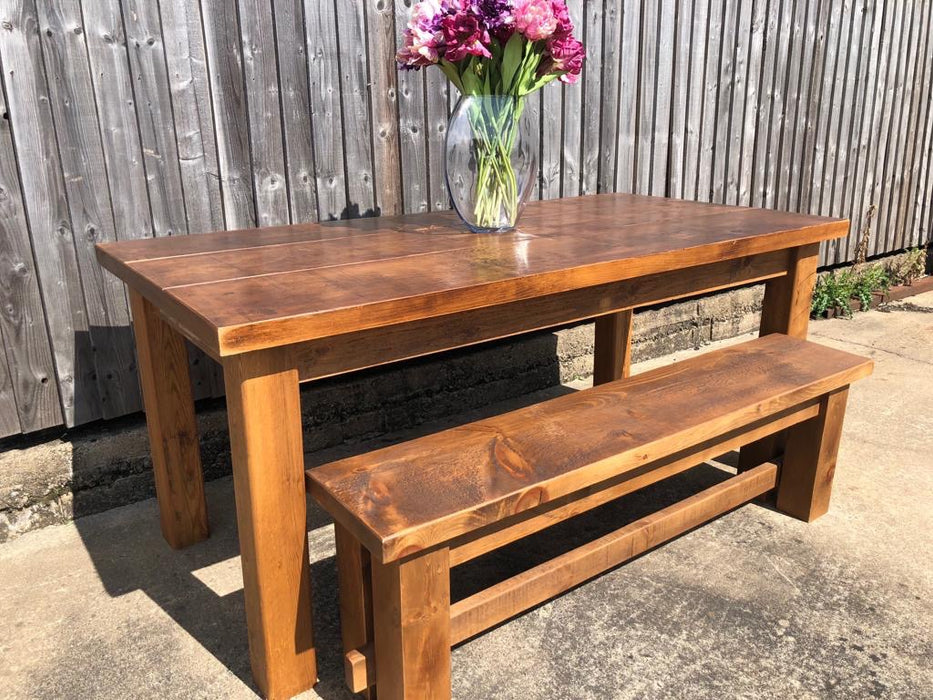 The Authentic Waxed Plank Dining Table With Bench