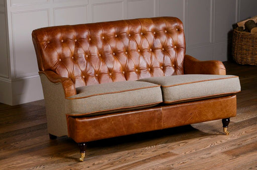 Beetwell 2-Seater Italian Leather Brown Cerrato Chesterfield With Glamis Opal Cushions And Piping
