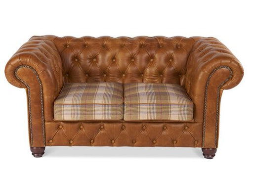 Birley 2-Seater Italian Leather Brown Cerrato Chesterfield With Huntingtower Sand Cushions