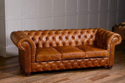 Birley 3-Seater Italian Leather Brown Cerrato Chesterfield