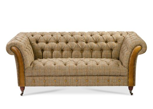 Bretby 2-Seater Harris Tweed Gamekeeper Thorn Sofa With Italian Leather Brown Cerrato Fronts