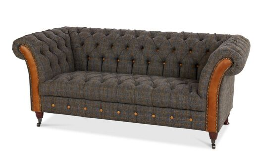 Bretby 2-Seater Harris Tweed Uist Night Sofa With Italian Leather Brown Cerrato Front