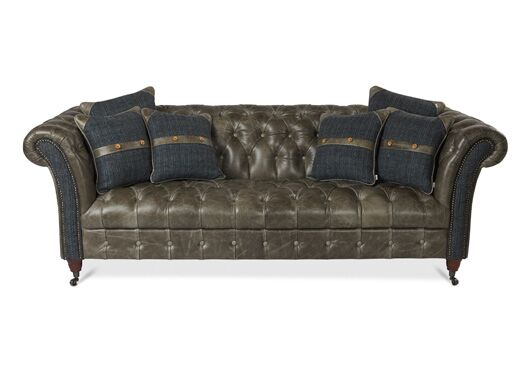 Bretby 3-Seater Italian Leather Grey Cerrato Sofa With Harris Tweed Highlander Smoke Front