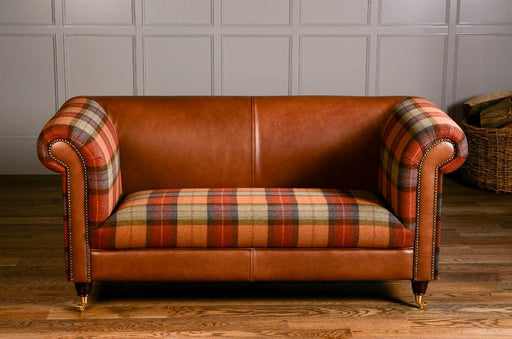 Byron 2-Seater Moon Wool Italian Leather Brown Ingrassato With Skye Burnt Orange Seat And Arms