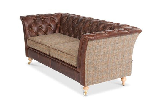 Caesar 2-Seater Italian Leather Bartollo Chesterfield With Gamekeeper Thorn Cushions And Side