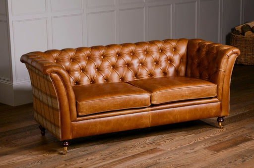 Caesar 2-Seater Italian Leather Brown Cerrato Chesterfield With Skye Sage Side