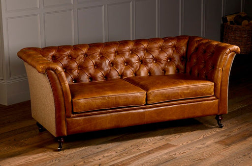 Caesar 2-Seater Italian Leather Brown Cerrato Chesterfield With Traditional Camel Side